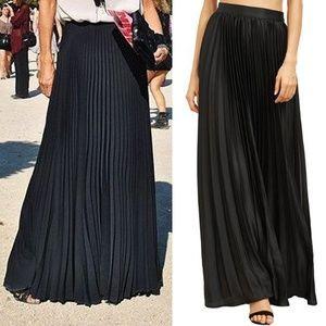 Rossmore Skirts - Rossmore Black Accordion Pleated Maxi Skirt
